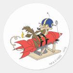 Wile E. Coyote Launching Red Rocket Pegatina Redonda