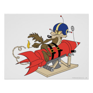 Wile E. Coyote Launching Red Rocket Poster