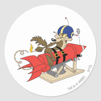Wile E Coyote Launching Red Rocket Round Stickers