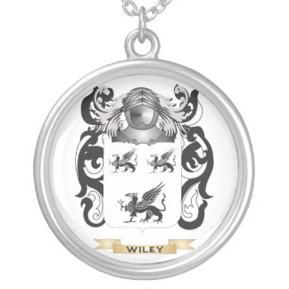 Wiley Family Crest (Coat of Arms) Round Pendant Necklace