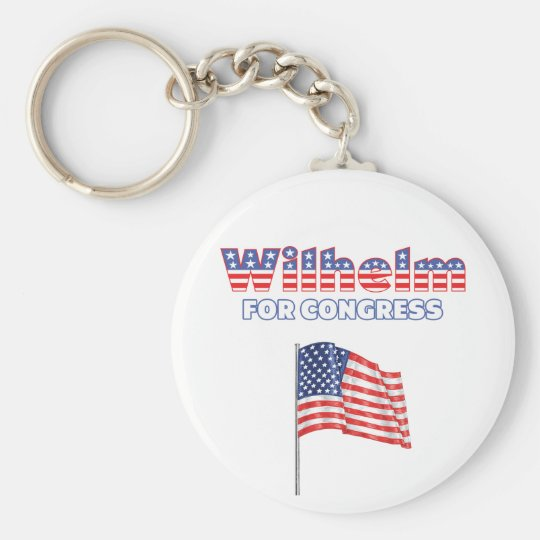 Wilhelm for Congress Patriotic American Flag Keychain