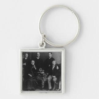 Wilhelm Liebknecht y su familia Llavero Cuadrado Plateado