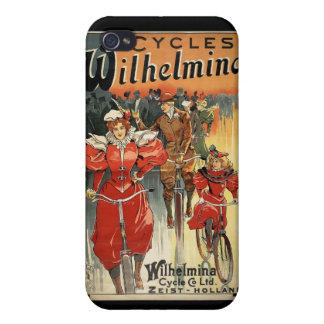 Wilhelmina retro monta en bicicleta el iPhone 4 de iPhone 4/4S Fundas