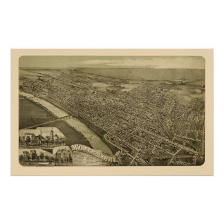 Wilkes-Barre, PA Panoramic Map - 1889 Poster