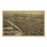 Wilkes-Barre Pennsylvania 1889 Antique Panorama Poster