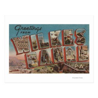 Wilkes-Barre, Pennsylvania - Large Letter Scenes Postcard