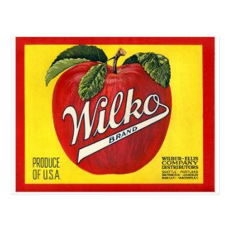 Wilko Brand Apples Vintage Label Postcard