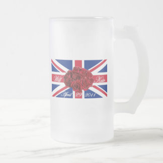 Will and Kate 2011 Limited Edition Commemorative Frosted Glass Beer Mug