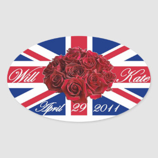Will and Kate 2011 Limited Edition Commemorative Oval Sticker