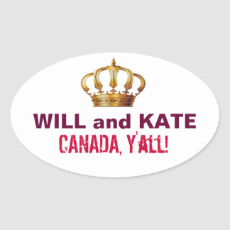 Will and Kate CANADA Y'all Sticker