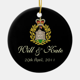 Will and Kate Keepsake Wedding Ornament (Black)