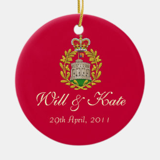 Will and Kate Keepsake Wedding Ornament (Red)