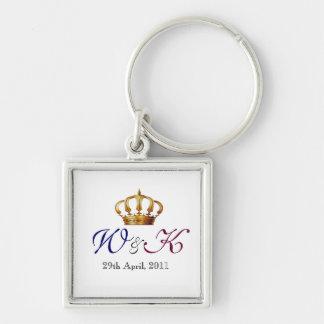Will and Kate Monogram Premium Keychain (Square)