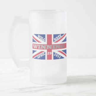 Will and Kate Winning Wedding Frosted Glass Beer Mug