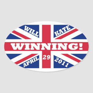 Will and Kate Winning Wedding Oval Sticker