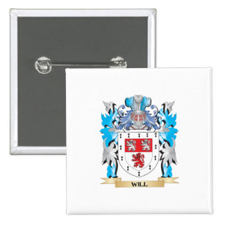 Will Coat of Arms - Family Crest 2 Inch Square Button