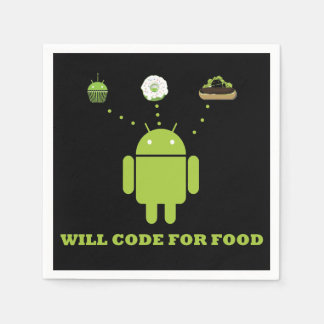 Will Code For Food (Android Bugdroid Humor) Paper Napkin