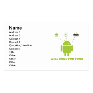 Will Code For Food (Android Software Developer) Business Card