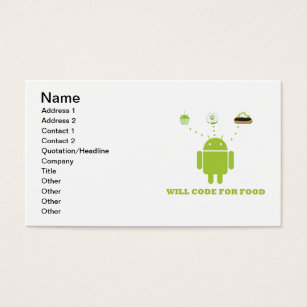Android business cards templates zazzle will code for food android software developer business card reheart Image collections