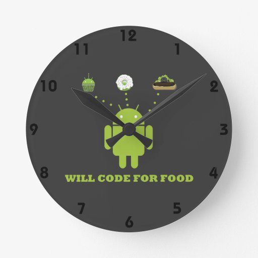 Will Code For Food (Android Software Developer) Round Wallclock