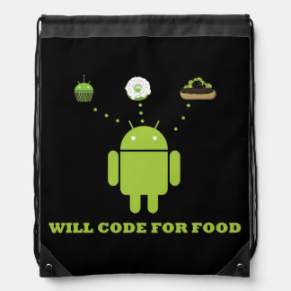 Will Code For Food (Android Software Developer) Drawstring Bag