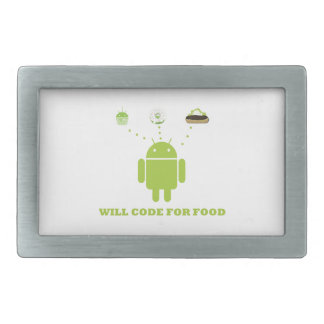 Will Code For Food (Android Software Developer) Rectangular Belt Buckle