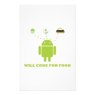 Will Code For Food (Android Software Developer) Customized Stationery
