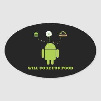 Will Code For Food (Android Software Developer) Oval Sticker