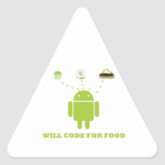 Will Code For Food (Android Software Developer) Triangle Sticker