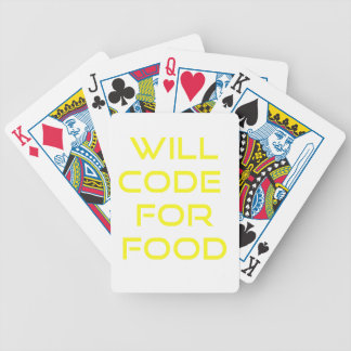 Will Code for Food Bicycle Playing Cards