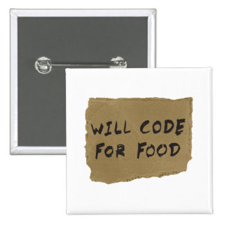 Will Code For Food 2 Inch Square Button