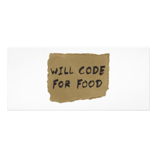 Will Code For Food Rack Card