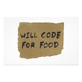 Will Code For Food Stationery