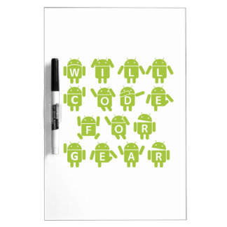 Will Code For Gear (Bugdroid Software Developer) Dry-Erase Board
