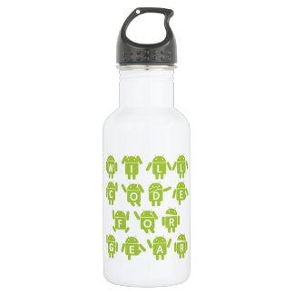 Will Code For Gear (Bugdroid Software Developer) 18oz Water Bottle