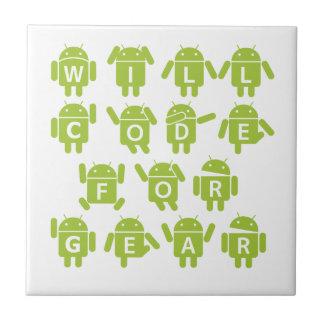 Will Code For Gear (Bugdroid Software Developer) Ceramic Tile