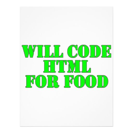 Will Code HTML For Food Full Color Flyer