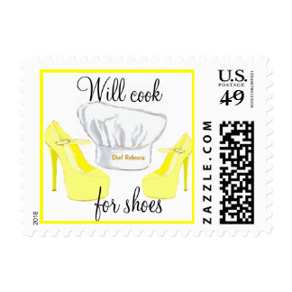 Will Cook for Shoes Custom Chef Hat Postage Stamps