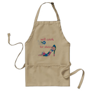 Will Cook for Shoes pink and blue Adult Apron