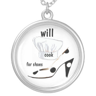 Will Cook for Shoes Silver Plated Necklace