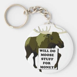 Will Do Moose Stuff For Money Basic Round Button Keychain