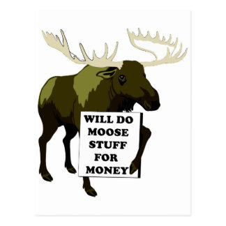 Will Do Moose Stuff For Money Postcards