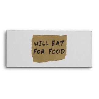 Will Eat For Food Cardboard Sign Envelopes