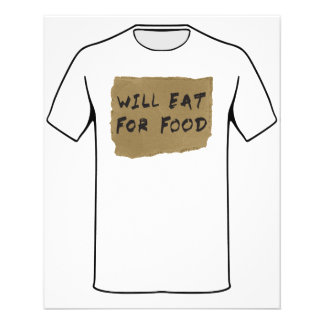 """Will Eat For Food Cardboard Sign 4.5"""" X 5.6"""" Flyer"""