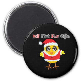 Will Flirt For Gifts - Cute Santa Chick Fridge Magnets