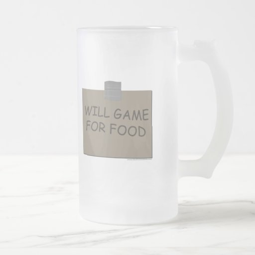 Will Game For Food Frosted Glass Beer Mug