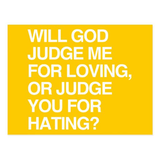 WILL GOD JUDGE ME FOR LOVIN POSTCARD