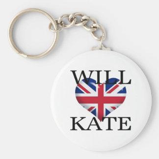 Will Heart Kate 1 Basic Round Button Keychain