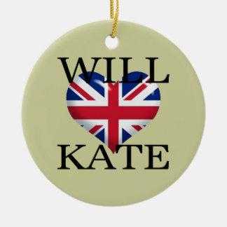 Will Heart Kate 1 Ceramic Ornament
