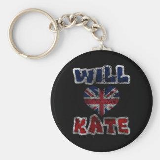 Will Heart Kate 2 Basic Round Button Keychain